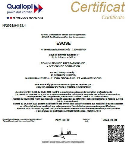 La certification Qualiopi ESQSE